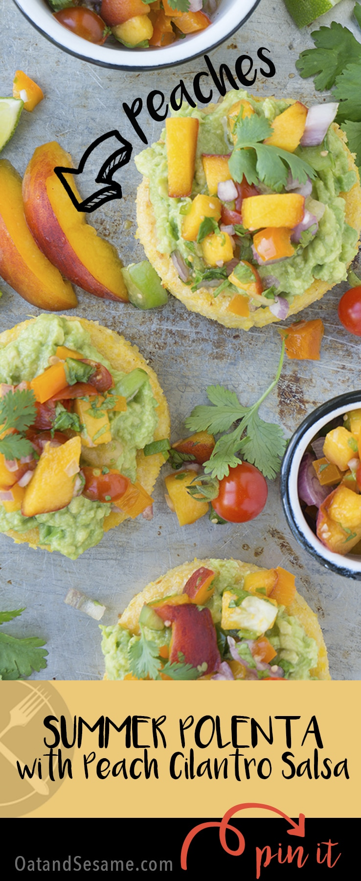 Peach Cilantro Salsa on polenta cakes