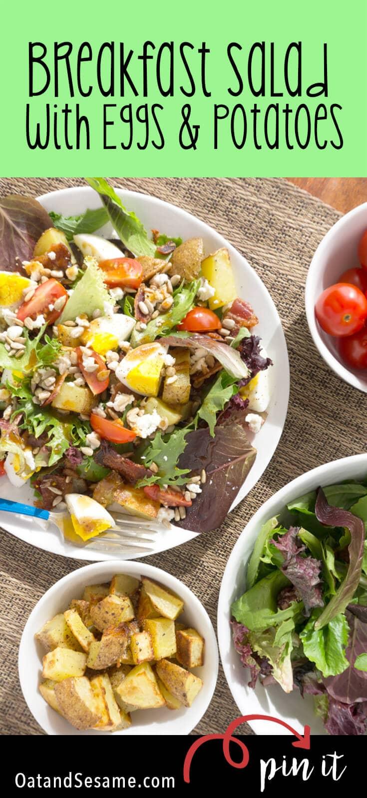 hard boiled eggs, salad greens, potatoes