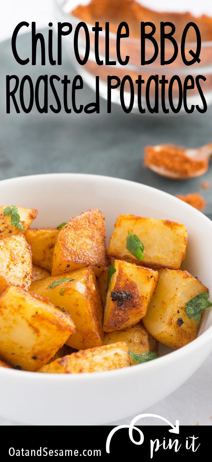 roasted potatoes in a bowl with seasoning