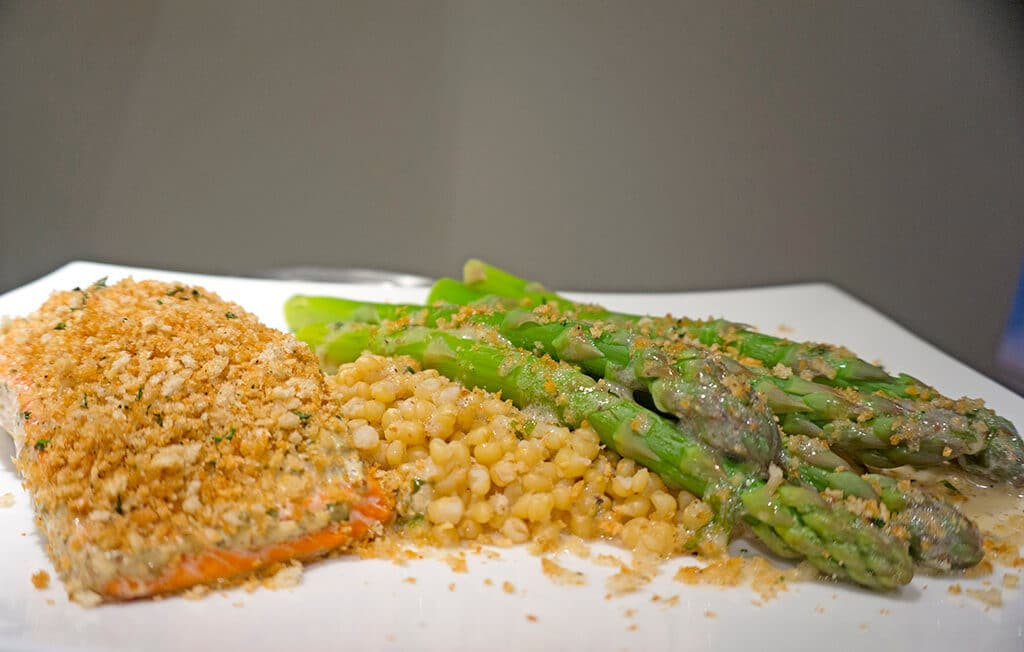 plated fish and asparagus