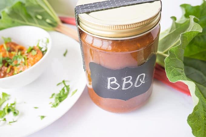 Rhubarb BBQ sauce in jar