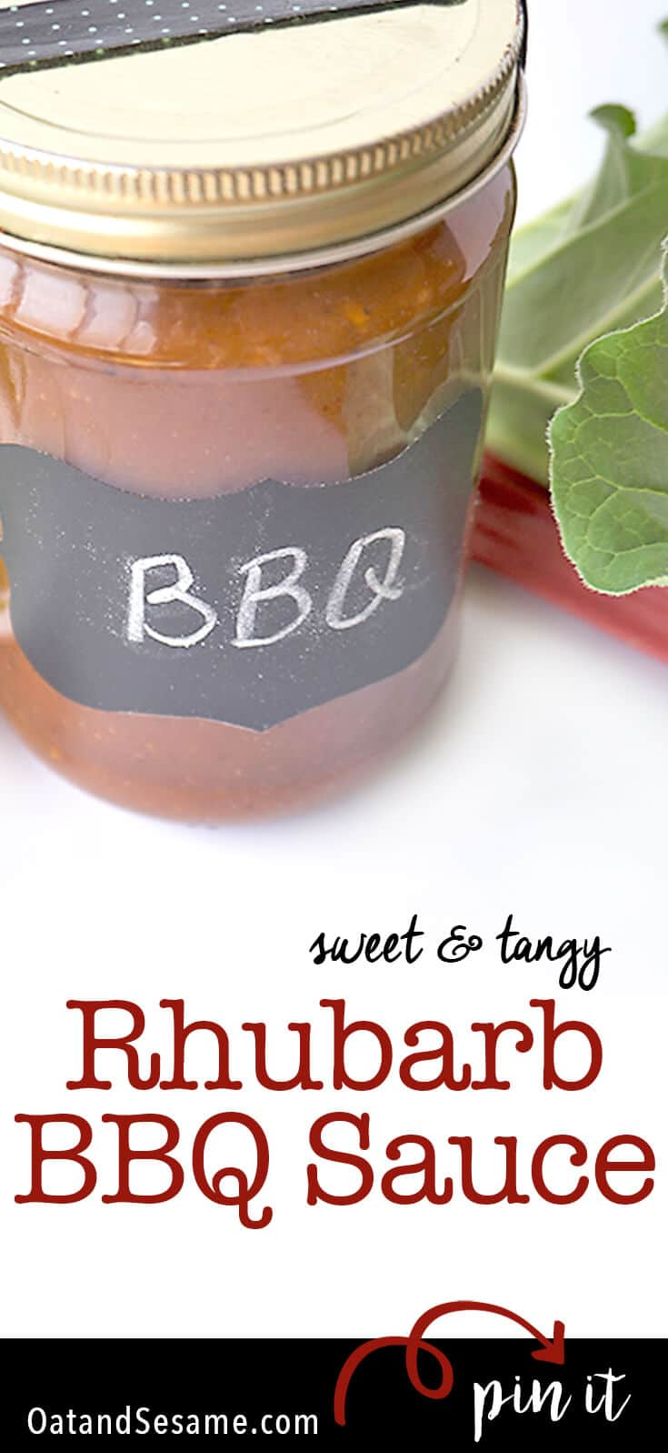 A fresh and tangy BBQ SAUCE featuring RHUBARB!!| SUMMER | #RHUBARB | #BBQ | #SAUCE | #Recipes at OatandSesame.com
