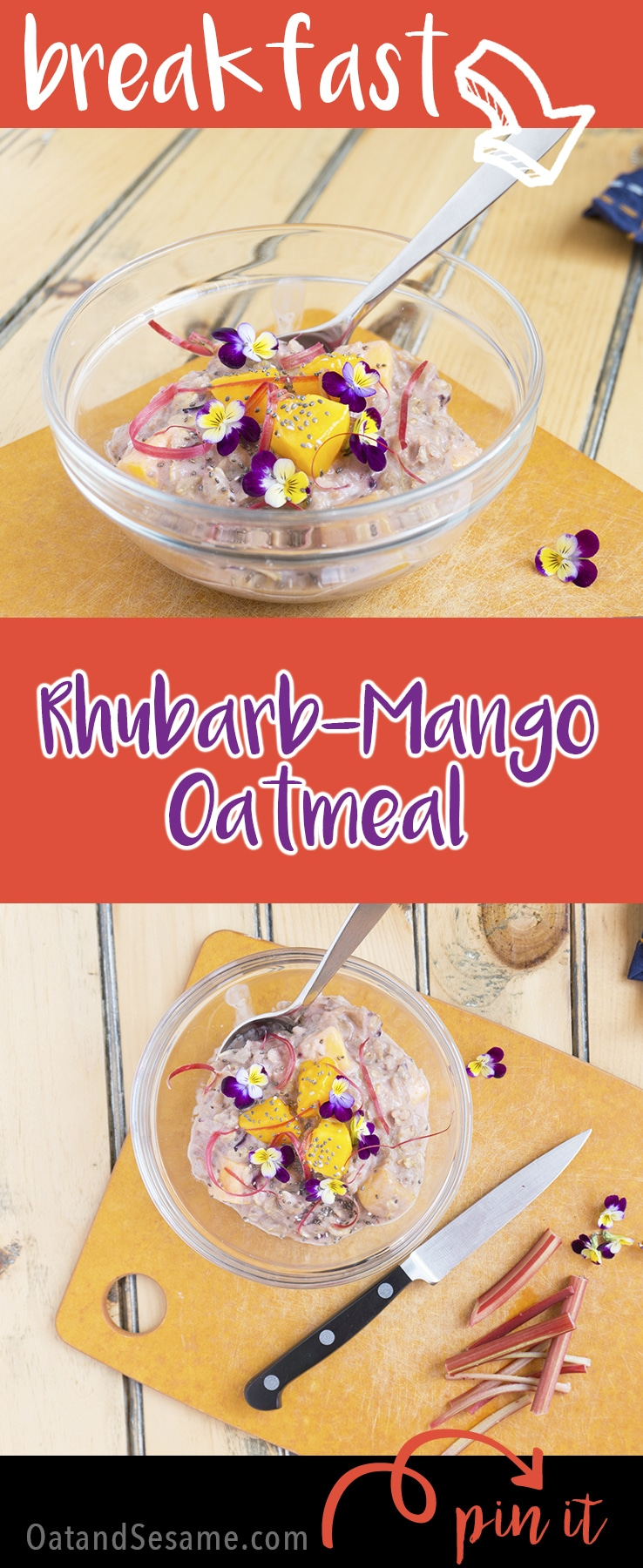 This RHUBARB-MANGO Oatmeal is the perfect blend of sweet and tart. I always thought strawberry rhubarb was the best, but mango is equally as delicious! | #RHUBARB | #BREAKFAST | #OATMEAL | #VEGAN | #VEGETARIAN | #Recipes at OatandSesame.com