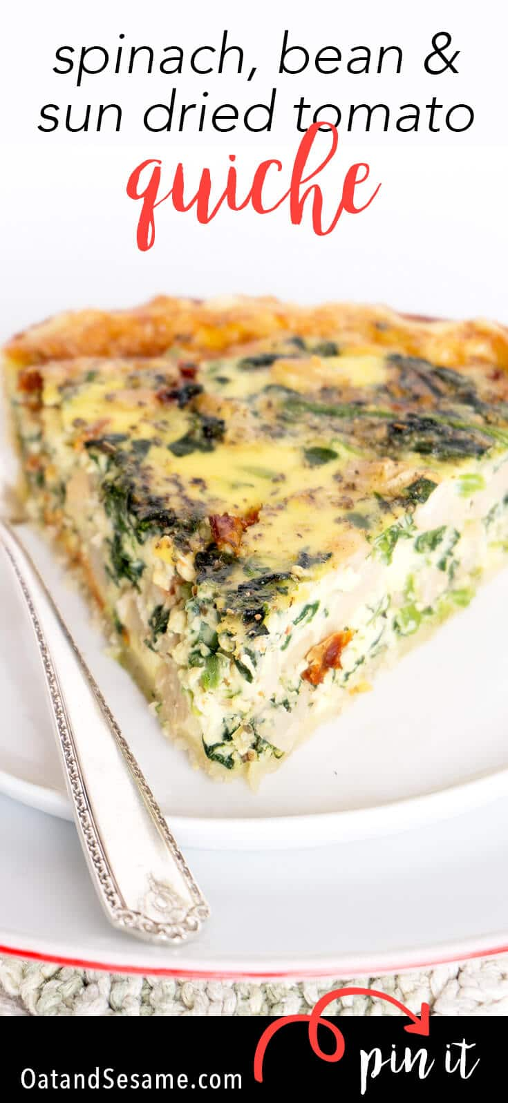 Need a BREAKFAST QUICHE? This favorite breakfast/brunch quiche is stuffed with spinach, beans, sun dried tomatoes and fontina cheese! | #QUICHE | #BREAKFAST | #Recipes at OatandSesame.com