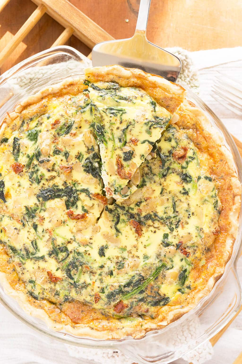 Spinach, White Bean & Sun Dried Tomato Quiche Overhead