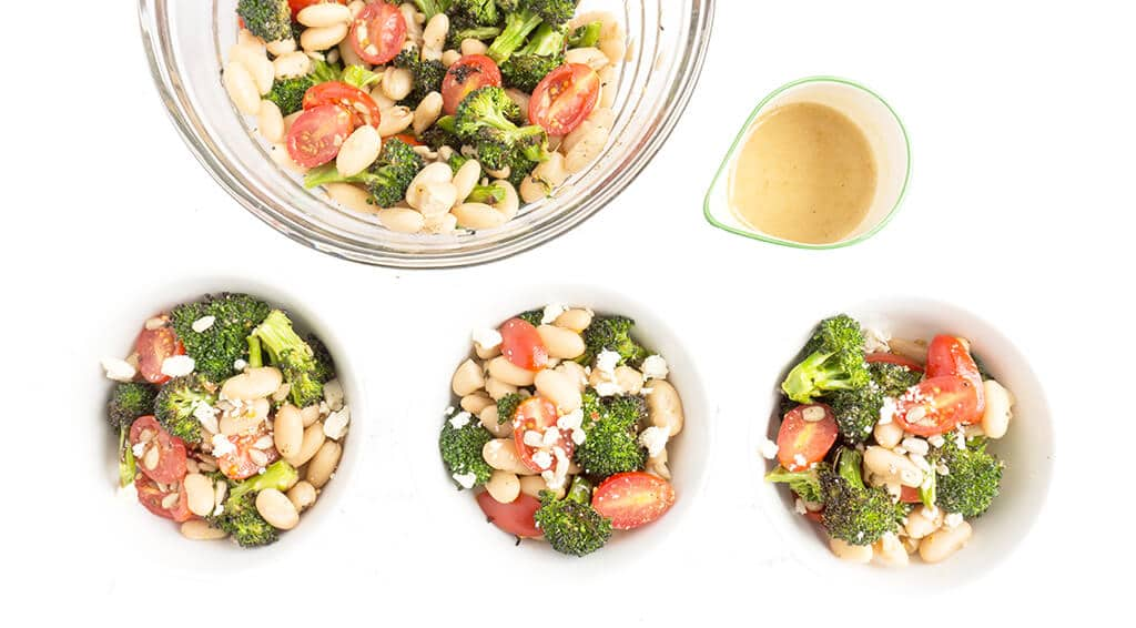 Roasted Broccoli Salad in bowls