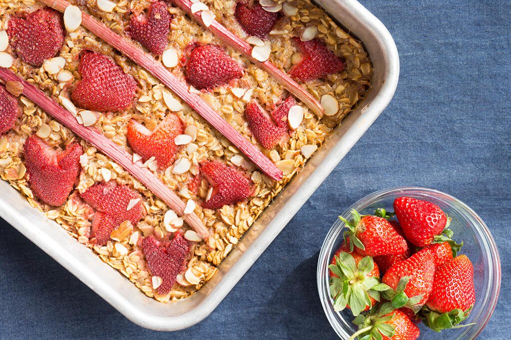 Strawberry Rhubarb Baked Oatmeal in baking dish overhead