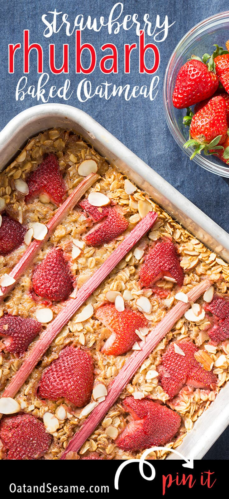 Rhubarb Oatmeal with Strawberries on top