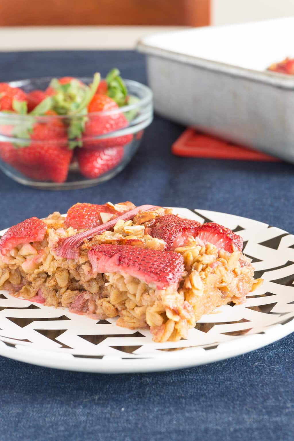 Strawberry Rhubarb Baked Oatmeal close up