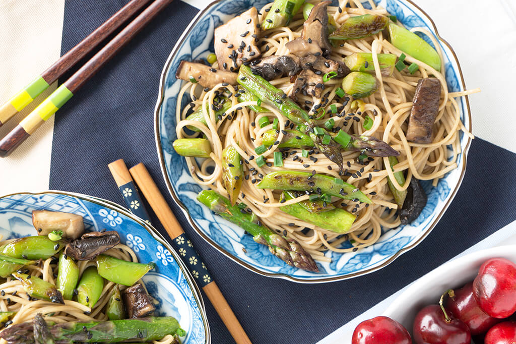 Sesame Noodle Bowl with Spring Veggies- overhead