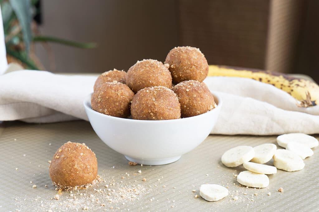 No Bake Peanut Butter Banana Bread balls in bowl