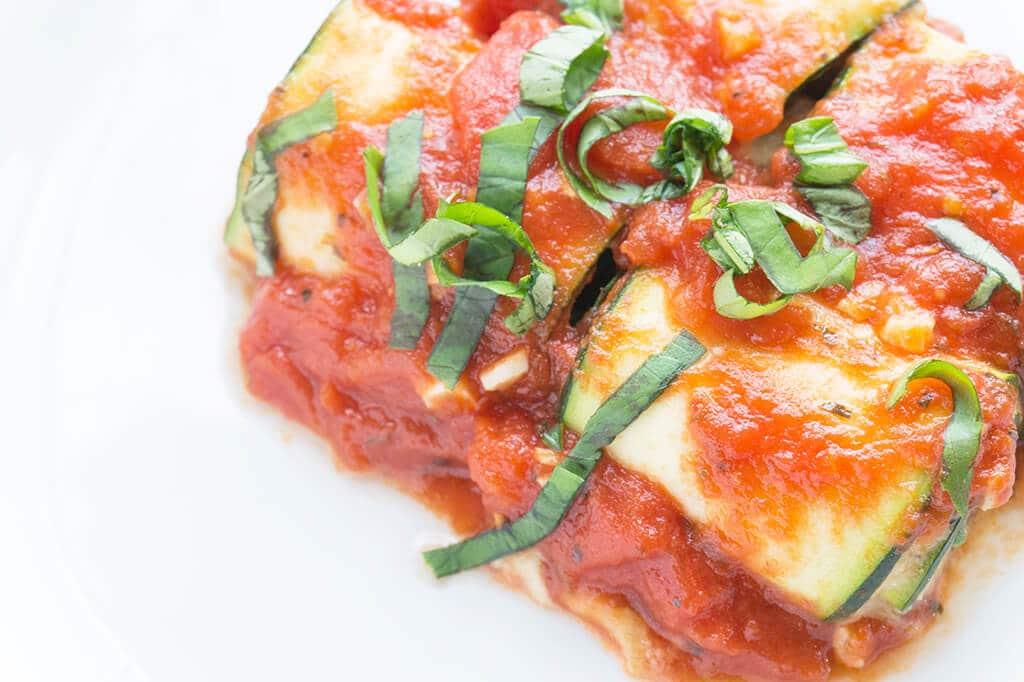 Lasagna closeup overhead