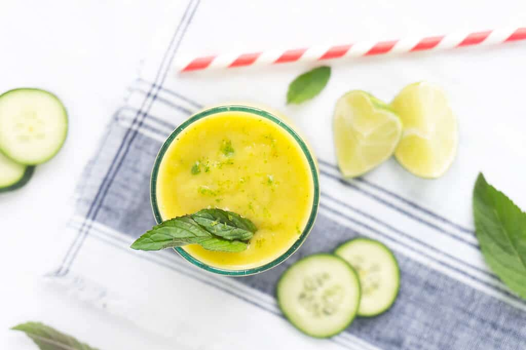 Cucumber water is SO refreshing. That is true for cucumber smoothies too! This Mango Cucumber Mint Smoothie is light and refreshing and perfectly sweet without the addition of sweeteners. It's what a healthy smoothie should be!   SMOOTHIES   CUCUMBER   MANGO   VEGAN   Recipe at OatandSesame.com