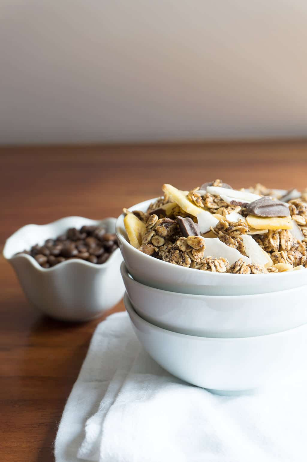 Coffee Granola in bowl - vertical