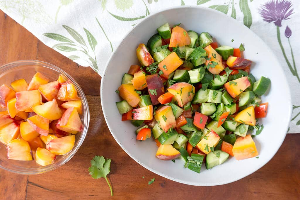 Sweet Peach Cucumber Salad in serving bowl