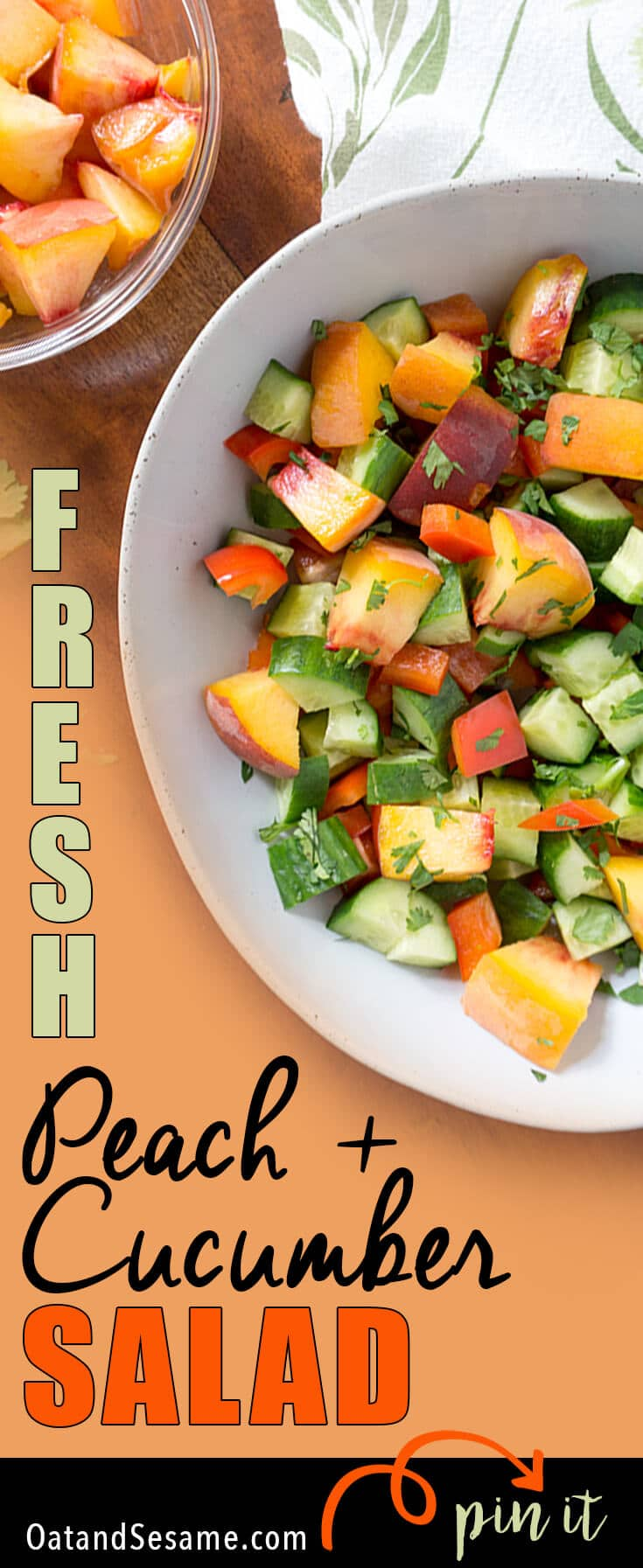 This easy Peach + Cucumber Salad incorporates all the wonderful produce from your local farmer's market! Fresh cucumbers, red peppers, peaches and fresh herbs! Summer flavors that speak for themselves without any fuss. | #GLUTENFREE | #VEGETARIAN | #VEGAN | #PLANTBASED | #PEACHES | #SALAD | #HEALTHY | #Recipes at OatandSesame.com