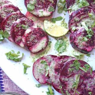 sliced beets on platter