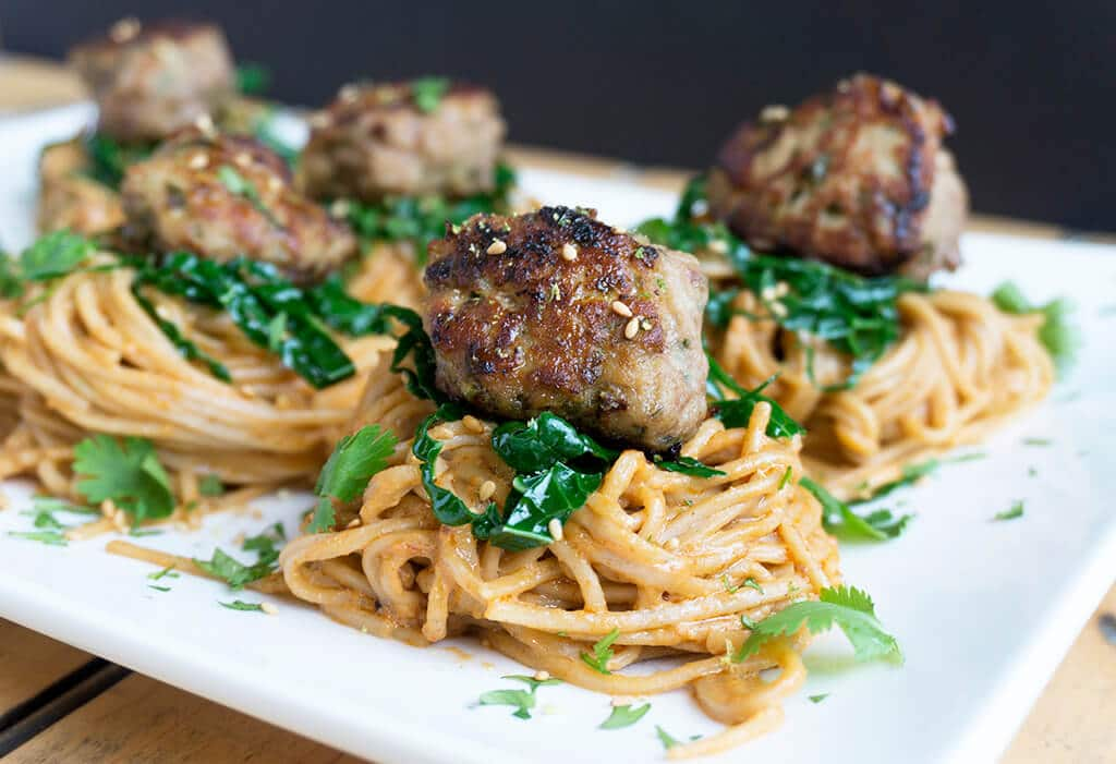 Peanut Noodles with Turkey Meatballs