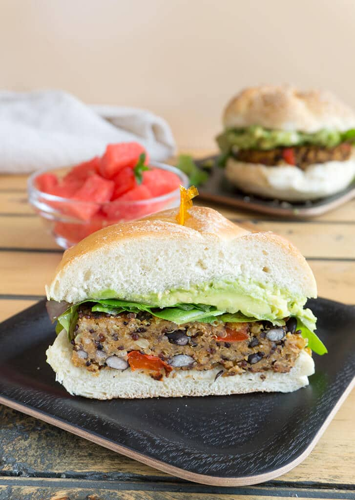 One Half of a Black Bean Quinoa Burger on a plate