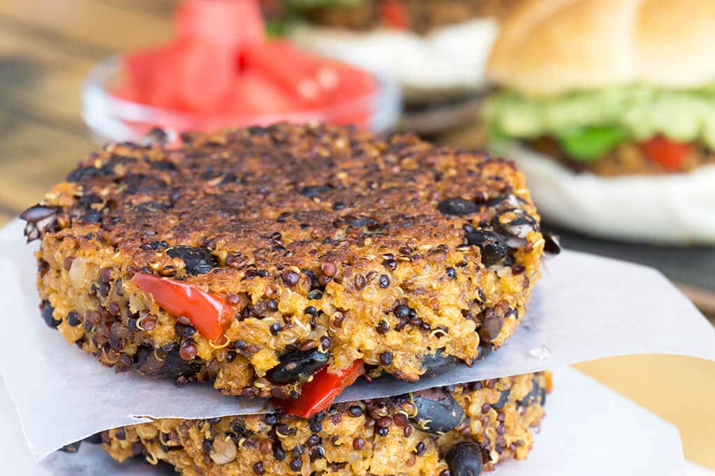 black bean quinoa burger with no bun ready for freezer