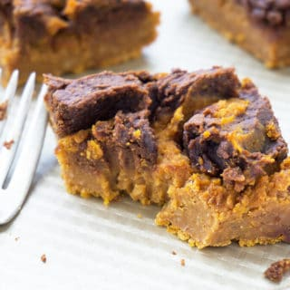 Vegan Pumpkin Pie Bars with Chocolate Peanut Butter Swirl