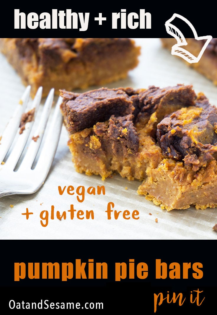 pumpkin pie bar with peanut butter swirl