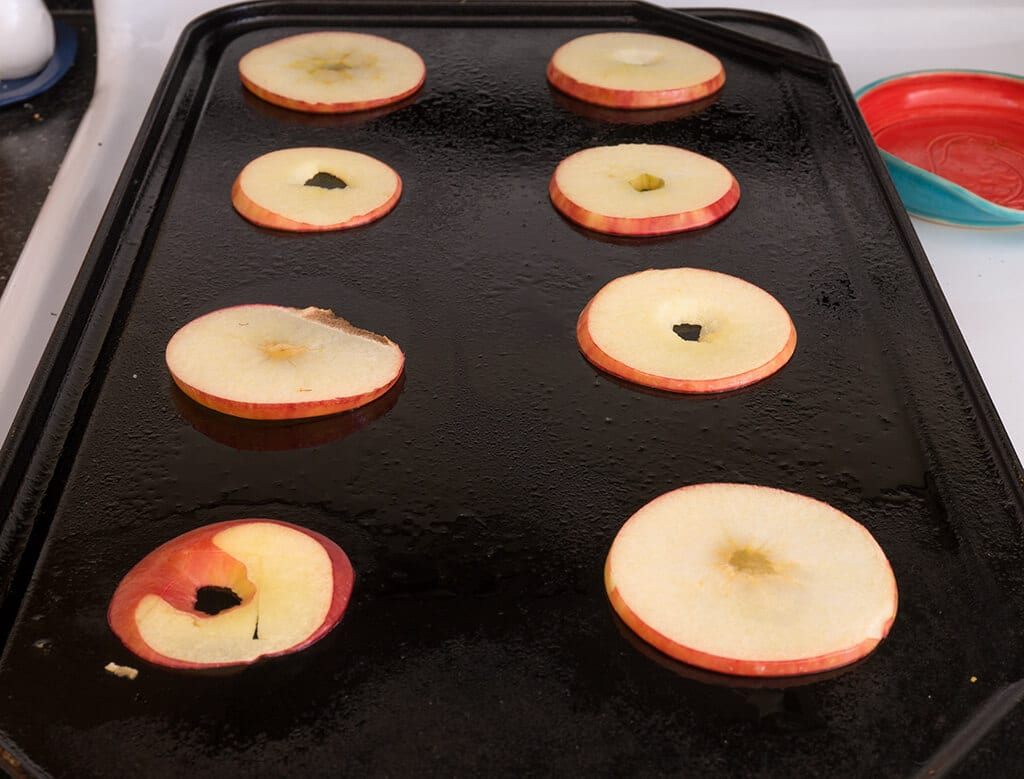 apple on griddle