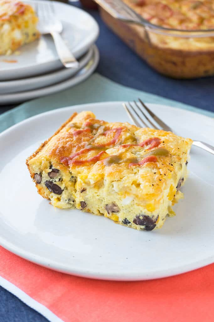 egg casserole square on plate