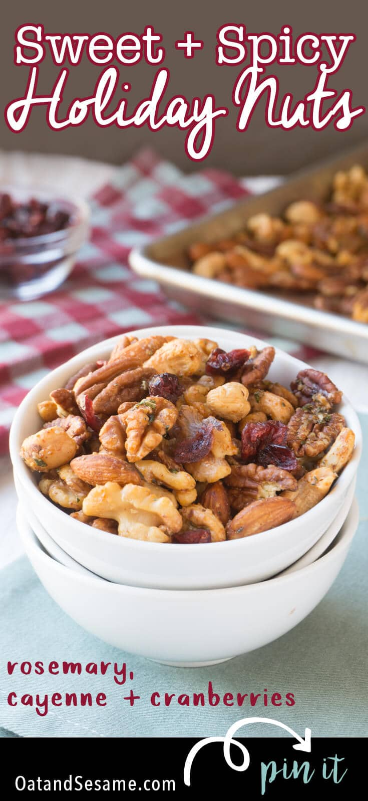 This Sweet and Spicy Holiday Nut Mix pairs perfectly with cocktails and beer. They make the perfect savory snack that balances out all the holiday sweetness. | #HOLIDAY | #APPETIZER | #NUTS | #Recipes at OatandSesame.com