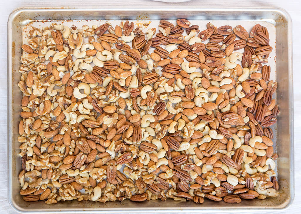 Nuts on sheet pan
