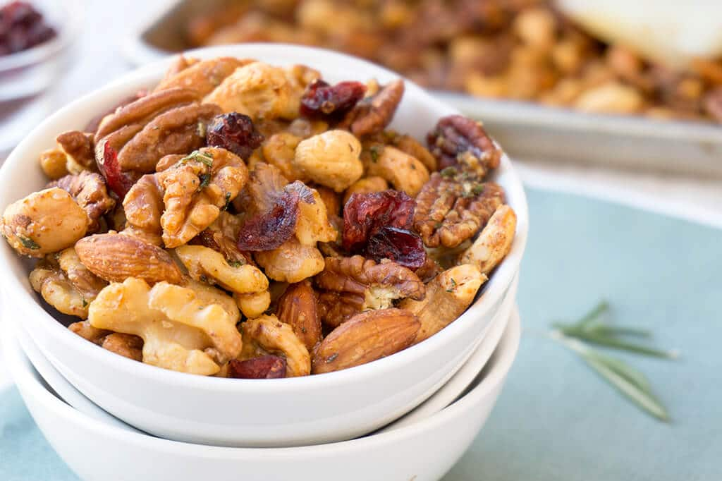 Sweet and Spicy Nuts in Bowl