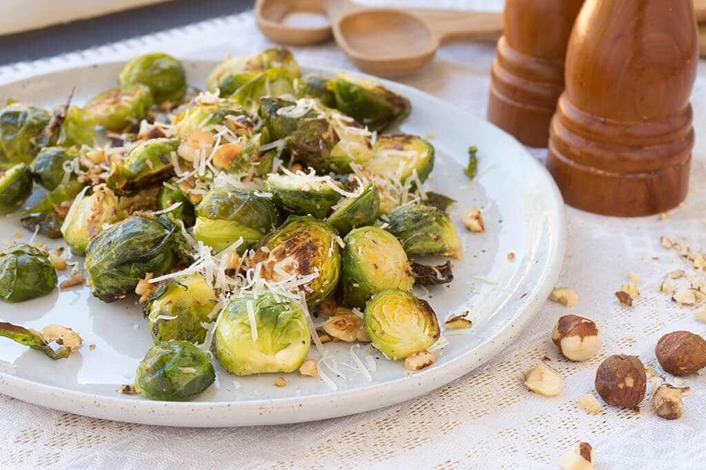 plate of Cacio e Pepe Brussels Sprouts