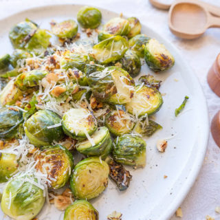 Cacio e Pepe Brussels Sprouts with Hazelnuts + Ricotta
