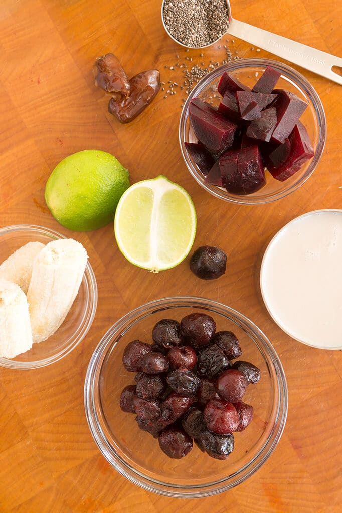 Cherry Lime Beet Smoothie Ingredients in bowls
