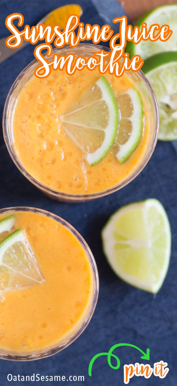 When you need a pick-me-up, this Sunshine Juice Smoothie is the right call. It's named sunshine because it's bright, tangy and it makes you feel like your drinking sunshine! If you're a fan of limeade, this juice smoothie will delight you with a blend of fresh ginger syrup, lime juice, carrot juice, frozen bananas and a dash of turmeric.| #SMOOTHIES | #JUICE | #Recipes at OatandSesame.com