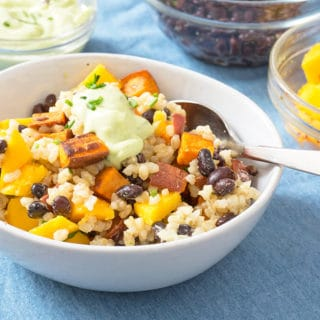 Sweet Potato Black Bean Avocado and brown rice in a bowl