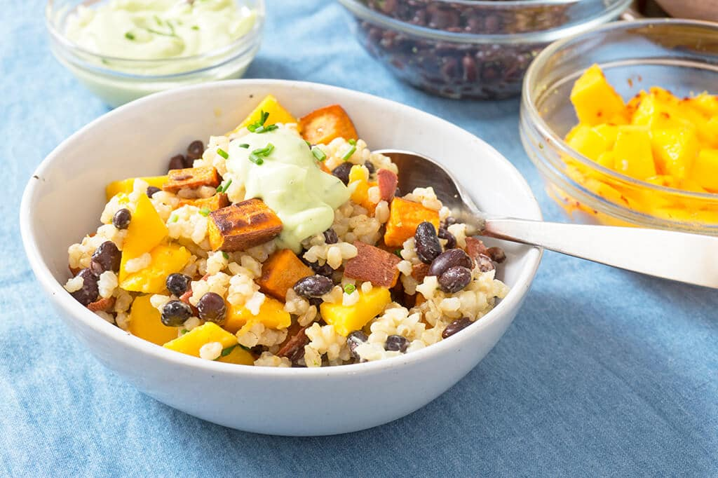 Avocado Brown Rice, Sweet Potato and Mango Bowl