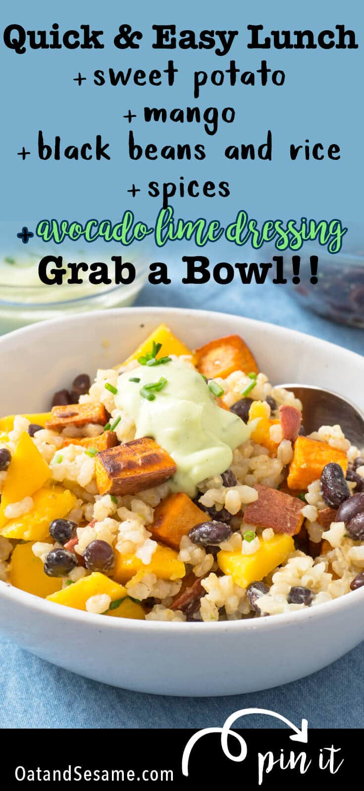 Have you ever tried Avocado Brown Rice? It's rice mixed with a creamy avocado sauce and it's delicious just by itself. For this easy meal prep recipe, avocado brown rice is tossed with roast sweet potatoes, fresh mango, and black beans for a tropical, packable lunch. | #LUNCH | #VEGETARIAN | #MEALPREP | #Recipes at OatandSesame.com