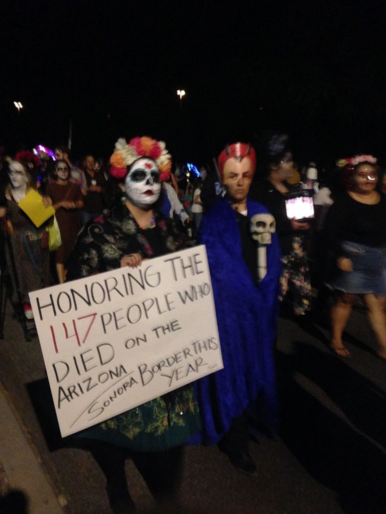 All Souls Procession, Sign honoring those that died on Sonoran border.