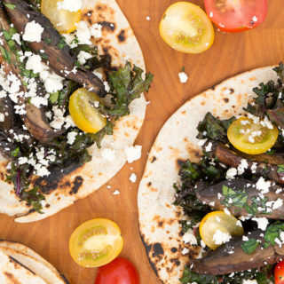 Portabello Mushroom Tacos with Spicy Kale and Feta