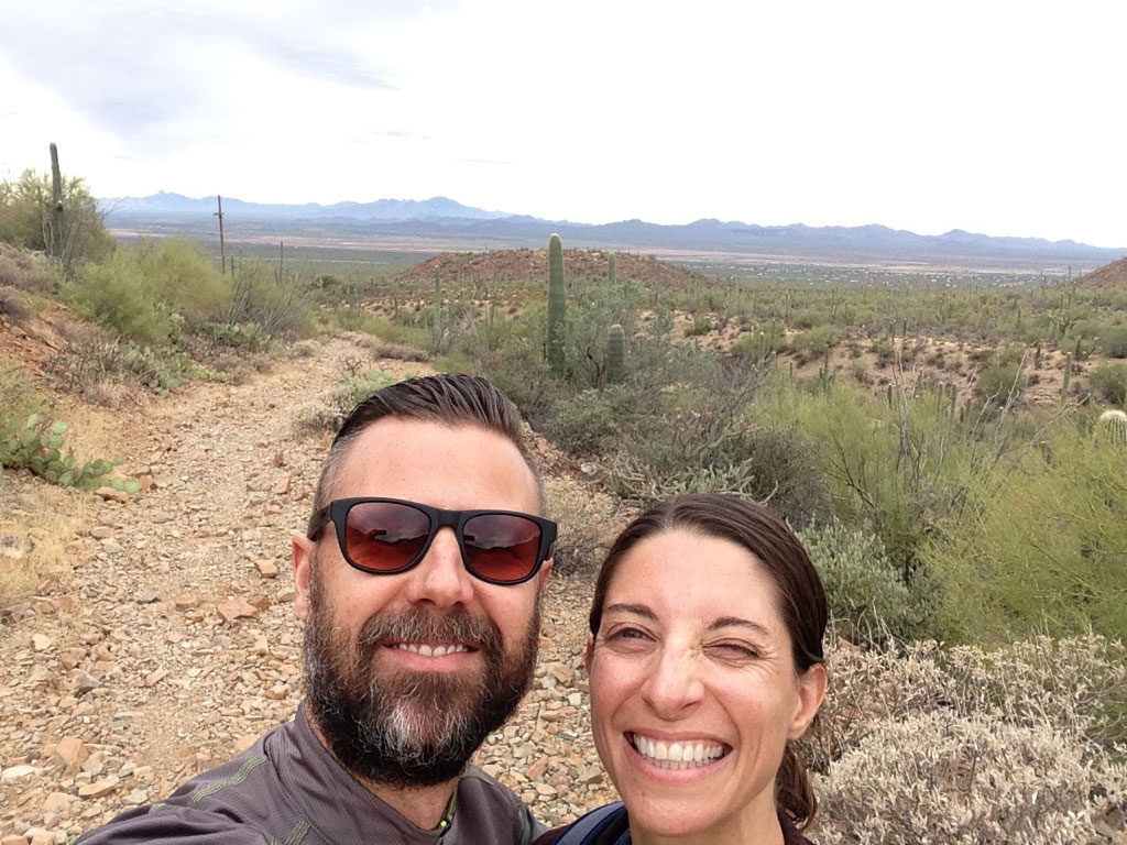 Emily and Jeremy Hiking in Tucson