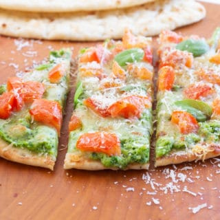 Zucchini Naan Pizza with Basil and Bruschetta