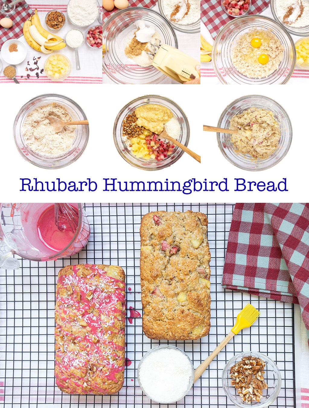 Step by Step Instructions on making Rhubarb Hummingbird Bread