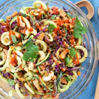 Vegan Zoodle Salad + Creamy Cilantro Cashew Dressing