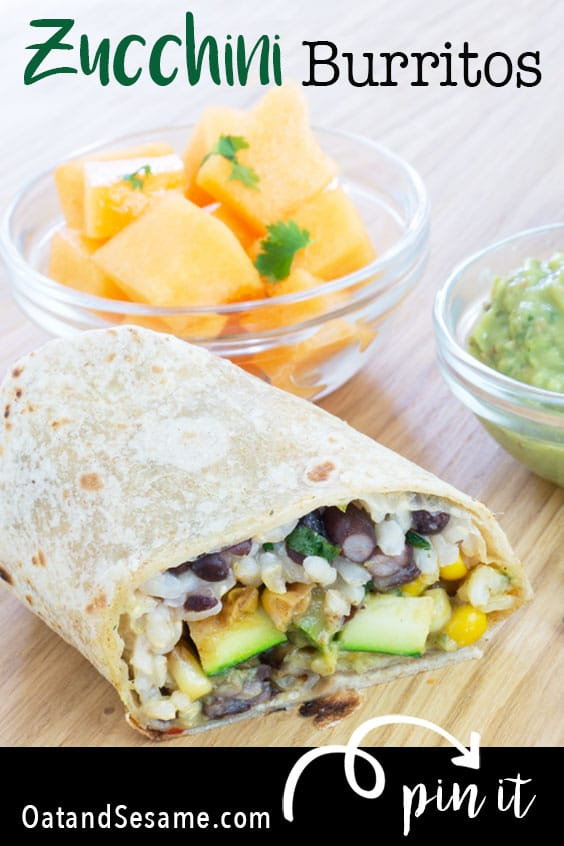 These Zucchini Burritos are stuffed full of zucchini, corn, and onion along with cilantro-lime black bean rice. Before rolling these up, they get a good dose of an avocado cream sauce that takes this summer burritos into the category  #BURRITOS   #ZUCCHINI   #VEGETARIAN   #VEGAN   #Recipes at OatandSesame.com
