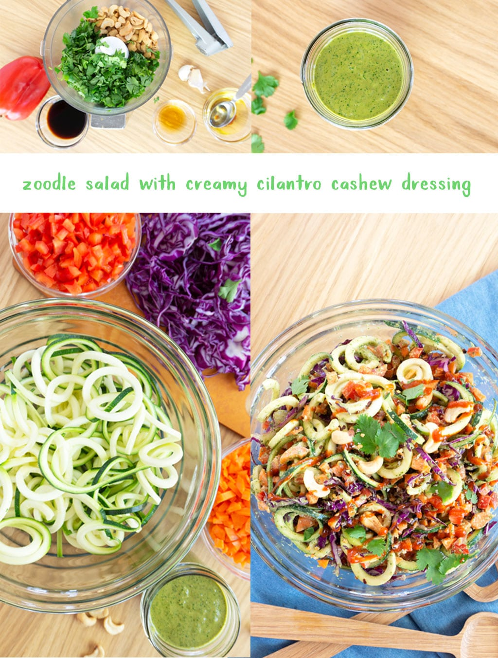 step by step photos for how to make zoodle salad