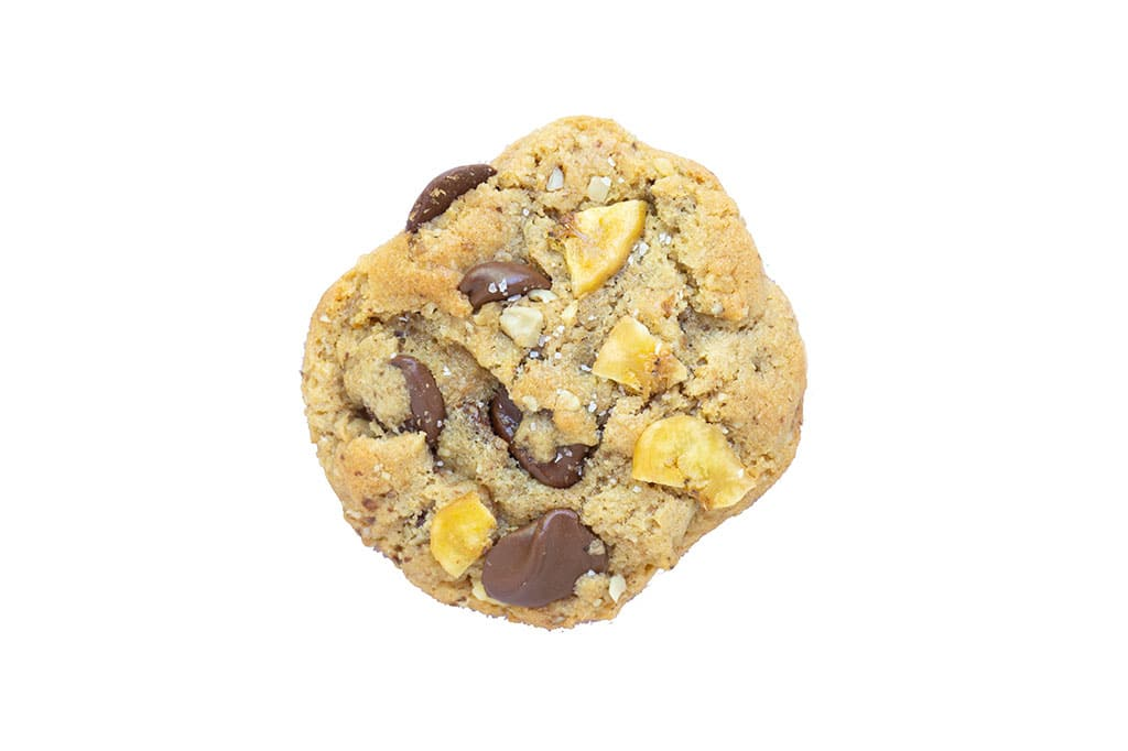 Banana Chocolate Chip Cookie with white background
