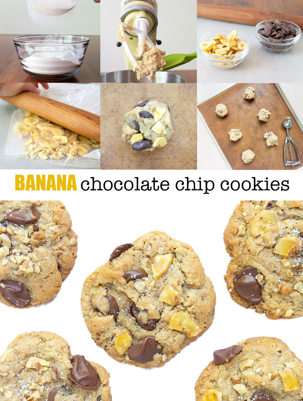 Step by Step Photos and Instructions for making Banana Chocolate Chip Cookies