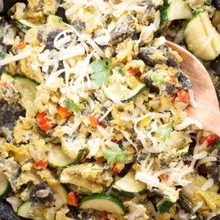 Blue Corn, Green Chili and Zucchini Breakfast Eggs