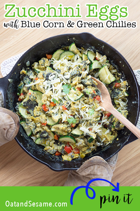 Layers of onions, peppers, zucchini and blue corn chips are tossed with eggs and spices for the ultimate Southwestern inspired breakfast bowl. | #BREAKFAST | #EGGS | #MIGAS | #ZUCCHINI | #Recipes at OatandSesame.com